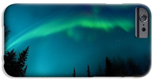 Northern Lights iPhone Cases - Northern Magic iPhone Case by Priska Wettstein
