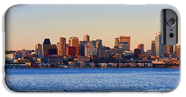 Panoramic Ocean iPhone Cases - Northwest Jewel - Seattle Skyline Cityscape iPhone Case by James Heckt