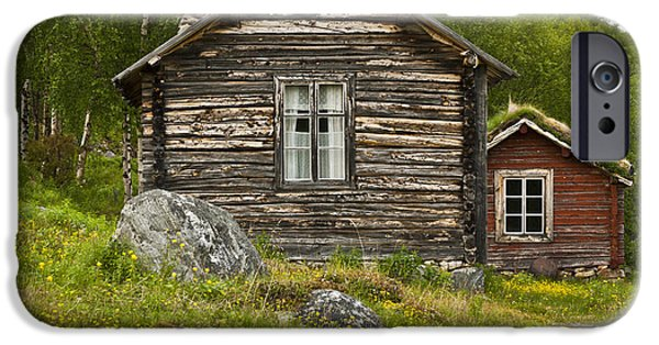 Frame House Photographs iPhone Cases - Norwegian Timber House iPhone Case by Heiko Koehrer-Wagner