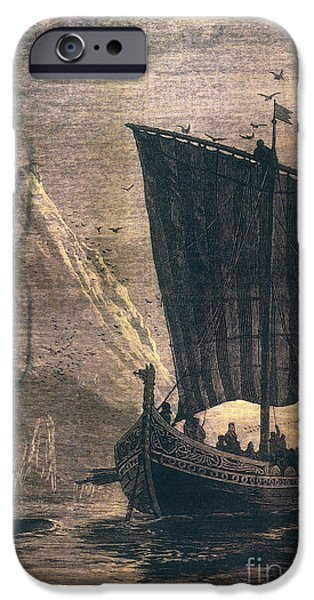 Engraving iPhone Cases - Norwegian Viking Longship iPhone Case by Granger