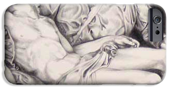 Jesus Drawings iPhone Cases - Nothing Can Be Added - Close Up Pieta iPhone Case by Amy S Turner