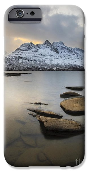 Landscape In Norway iPhone Cases - Novatinden Mountain And Skoddeberg Lake iPhone Case by Arild Heitmann