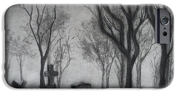 Tomb Drawings iPhone Cases - Now I lay me down to sleep iPhone Case by Carla Carson