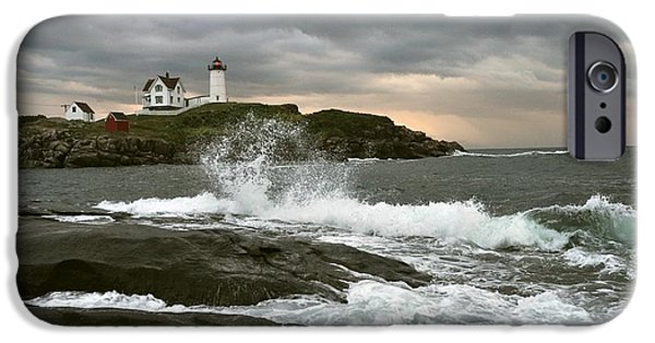 Nubble Lighthouse iPhone Cases - Nubble Light in a Storm iPhone Case by D F