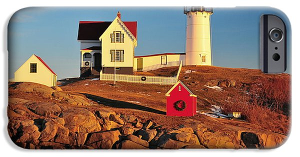 Cape Neddick Lighthouse iPhone Cases - Nubble Light Sunset iPhone Case by Catherine Reusch  Daley