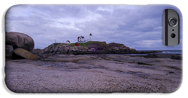New England Lighthouse iPhone Cases - Nubble Lighthouse at Dusk Maine USA iPhone Case by Sabine Jacobs