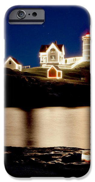 Nubble Lighthouse iPhone Cases - Nubble Stars iPhone Case by Greg Fortier