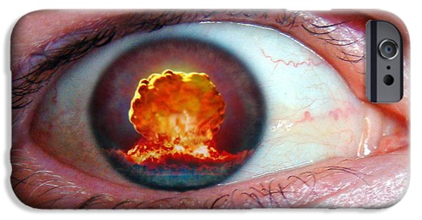 False Power iPhone Cases - Nuclear Bomb Explosion iPhone Case by Take 27 Ltd