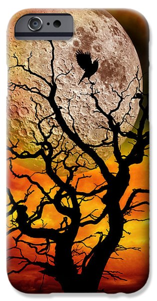 Eerie iPhone Cases - Nuclear Moonrise iPhone Case by Meirion Matthias