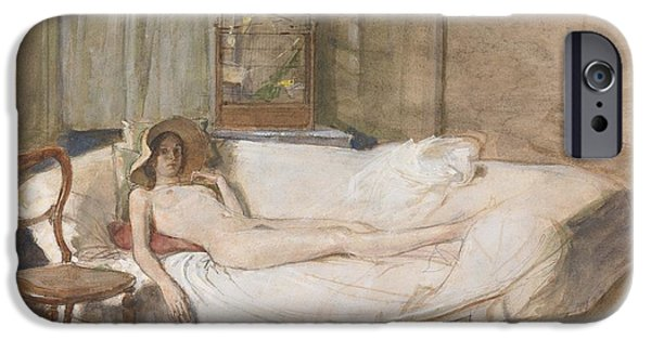 Model Drawings iPhone Cases - Nude on a Sofa iPhone Case by John Ward