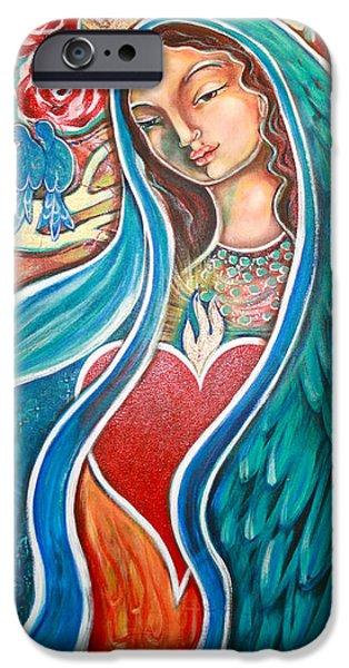 Visionary Paintings iPhone Cases - Nuestra Senora Maestosa iPhone Case by Shiloh Sophia McCloud