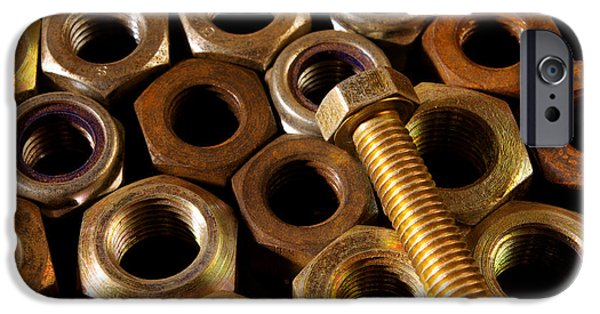 Best Sellers -  - Work Tool iPhone Cases - Nuts and Screw iPhone Case by Carlos Caetano