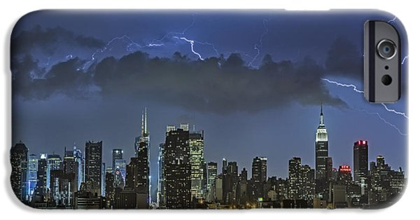 Empire State Building iPhone Cases - NYC All Charged Up iPhone Case by Susan Candelario