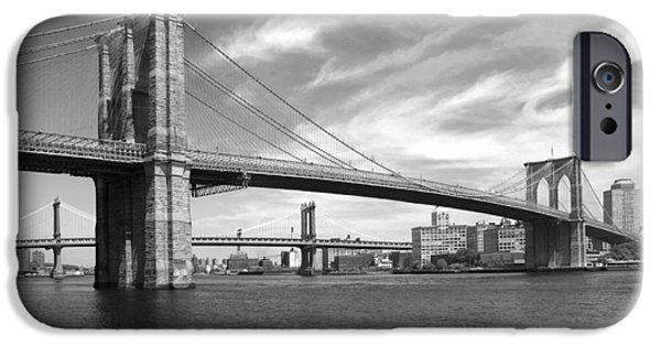Brooklyn Bridge Digital Art iPhone Cases - NYC Brooklyn Bridge iPhone Case by Mike McGlothlen