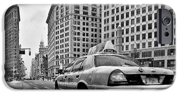 Facade iPhone Cases - NYC Cab and Flat Iron Building black and white iPhone Case by John Farnan
