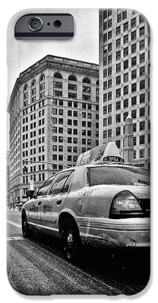 NYC Cab and Flat Iron Building black and white iPhone Case by John Farnan