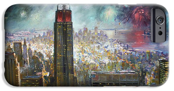 Fourth Of July Paintings iPhone Cases - Nyc. Empire State Building iPhone Case by Ylli Haruni