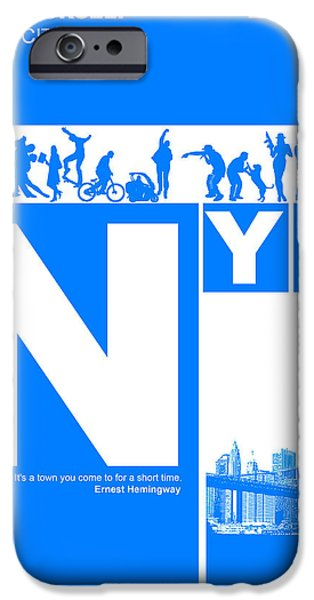 Old Digital Art iPhone Cases - NYC Find yourself in the city iPhone Case by Naxart Studio