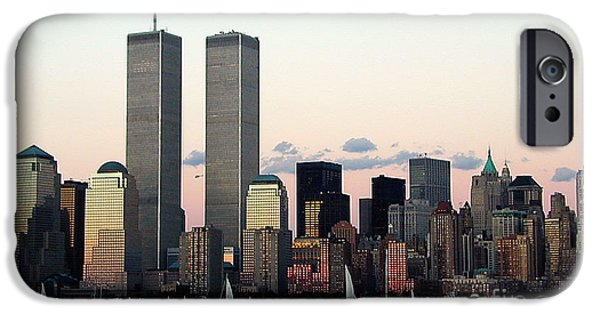 Twin Towers Nyc iPhone Cases - NYC Harbor Sunset iPhone Case by Judee Stalmack