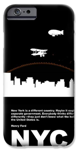 Business Digital Art iPhone Cases - NYC Night Poster iPhone Case by Naxart Studio