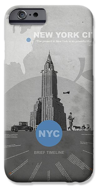 Architecture Digital iPhone Cases - NYC Poster iPhone Case by Naxart Studio