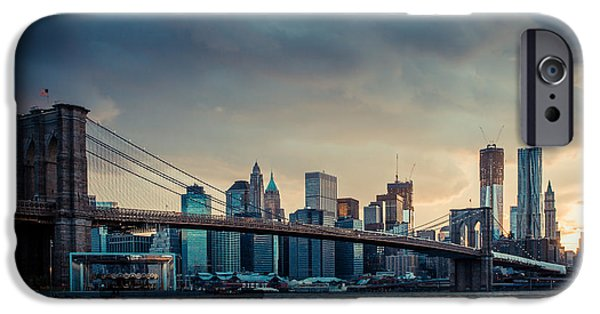 Nyc Rain iPhone Cases - NYC skyline in the sunset v1 iPhone Case by Hannes Cmarits
