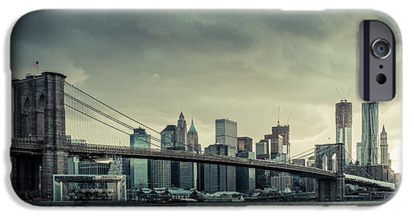 Nyc Rain iPhone Cases - NYC skyline in the sunset v2 iPhone Case by Hannes Cmarits
