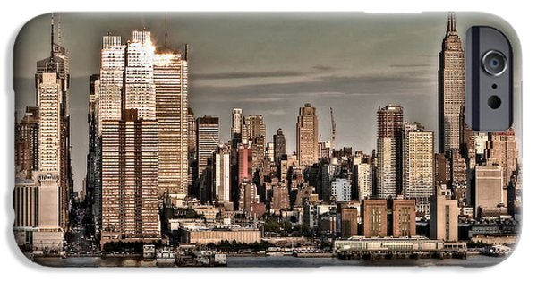 Hudson River iPhone Cases - NYC Skyline iPhone Case by Susan Candelario
