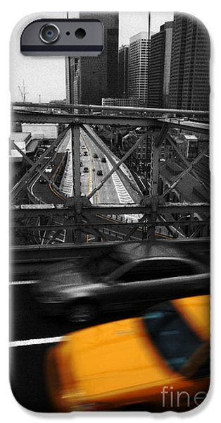 Colorkey iPhone Cases - NYC Yellow Cab iPhone Case by Hannes Cmarits