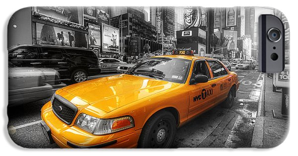Selective Coloring Art iPhone Cases - NYC Yellow Cab iPhone Case by Yhun Suarez