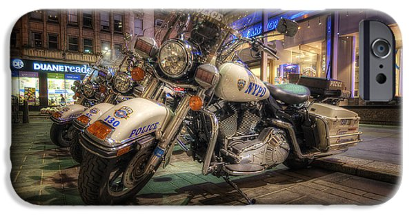Police Art Photographs iPhone Cases - NYPD Bikes iPhone Case by Yhun Suarez