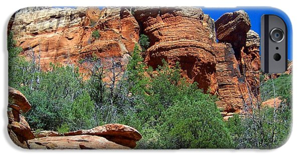 Oak Creek iPhone Cases - Oak Creek Canyon Balanced Rock iPhone Case by Charles Robinson