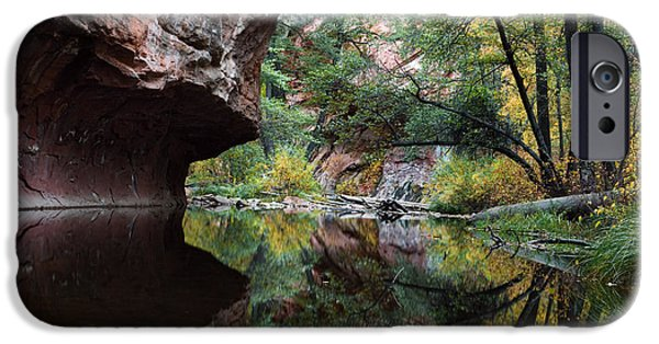 Oak Creek Canyon iPhone Cases - Oak Creek Canyon Reflections iPhone Case by Dave Dilli