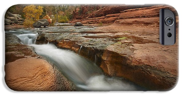 Animalsandearth iPhone Cases - Oak Creek In Slide Rock State Park iPhone Case by Tim Fitzharris