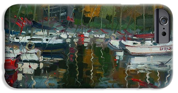Sailboat Paintings iPhone Cases - Oakville Harbour ON iPhone Case by Ylli Haruni