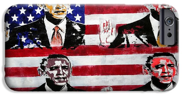 Obama Paintings iPhone Cases - Obama 2 iPhone Case by Jorge Berlato