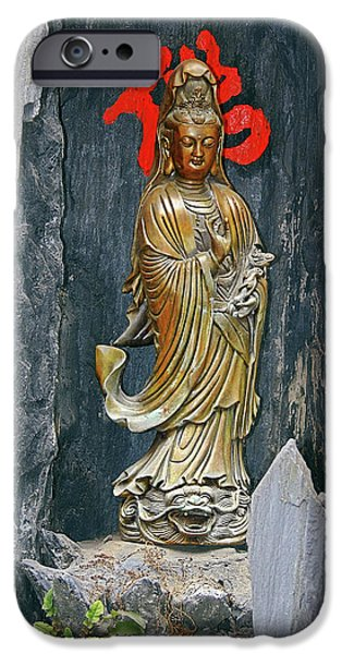 Bodhisattva iPhone Cases - Observing the Sounds of the World iPhone Case by Christine Till