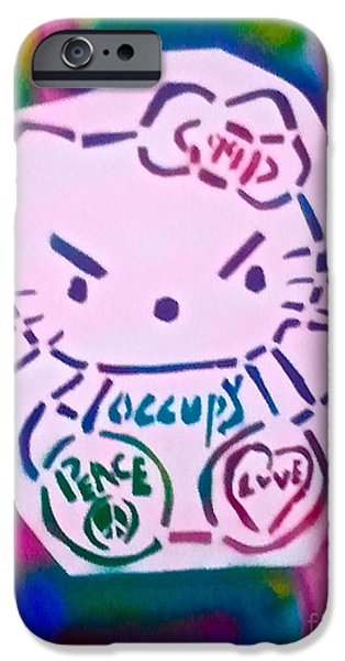 Occupy Paintings iPhone Cases - Occupy Kitty iPhone Case by Tony B Conscious