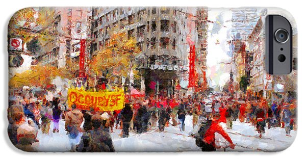 Occupy iPhone Cases - Occupy SF Market Street . 7D9733 iPhone Case by Wingsdomain Art and Photography