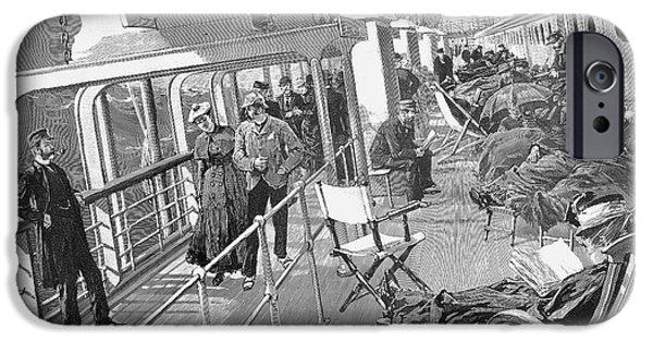 Upper Deck iPhone Cases - Ocean Liner Deck, 1888 iPhone Case by Granger