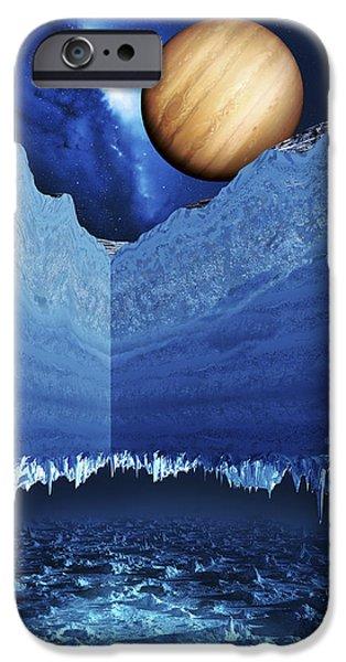 Galilean Moon iPhone Cases - Ocean On Europa iPhone Case by Detlev Van Ravenswaay