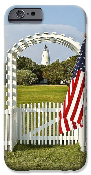 4th Of July iPhone Cases - Ocracoke Lighthouse July 4th iPhone Case by Bill Swindaman