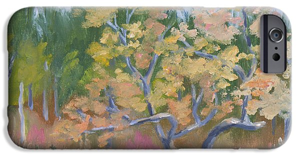 Garden Scene Paintings iPhone Cases - October Garden iPhone Case by Robert P Hedden