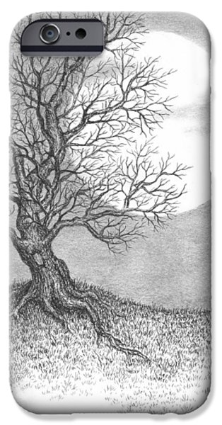 Best Sellers -  - Pen And Ink iPhone Cases - October Moon iPhone Case by Adam Zebediah Joseph