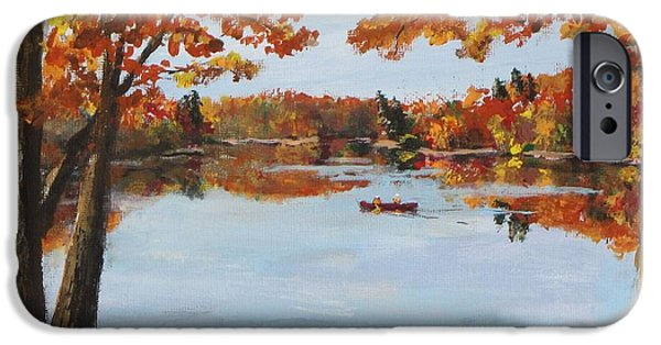 Walden Pond Paintings iPhone Cases - October Morn at Walden Pond iPhone Case by Jack Skinner