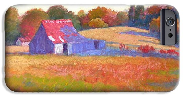 Farm Landscape Pastels iPhone Cases - October Shadows iPhone Case by Julie Mayser