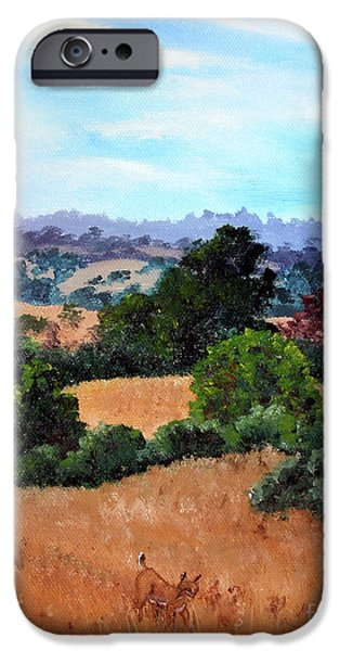 Bobcats Paintings iPhone Cases - October View of Arastradero iPhone Case by Laura Iverson