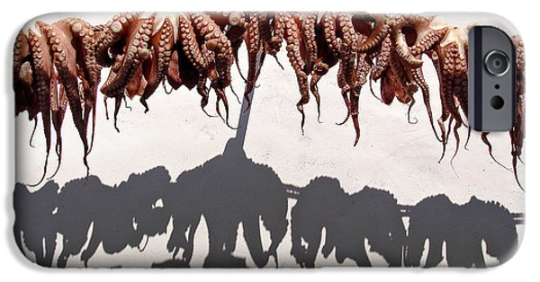 Tentacles iPhone Cases - Octopus drying iPhone Case by Jane Rix