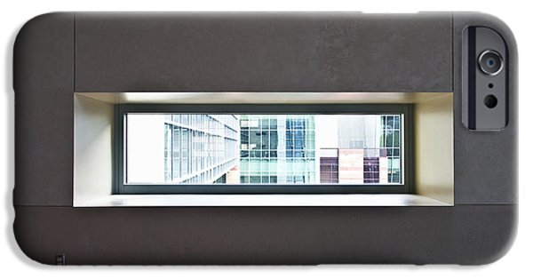 Office Space Photographs iPhone Cases - Office Buildings Seen Through Window iPhone Case by Dave & Les Jacobs