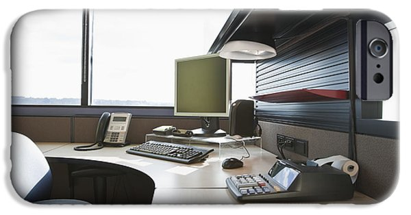 Office Space Photographs iPhone Cases - Office Work Station iPhone Case by Jetta Productions, Inc